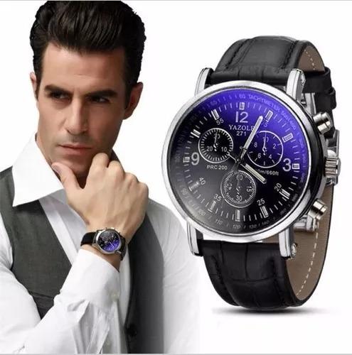 Relógio De Luxo Masculino Yazole Pulseira De Couro