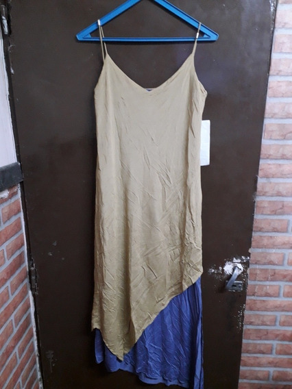 Vestido Largo Irregular Doble Tela Talle L Kapital