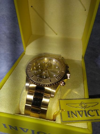 Relógio Barato Invicta Dourado Original Folheado Ouro 18 K