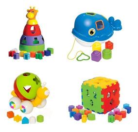 Kit 4 Brinquedos Educativos Didático Crianças +1 Ano Baleia