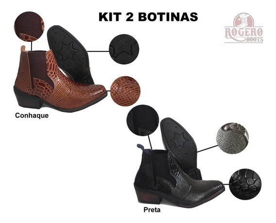 Kit 02 Pares Anaconda Cobra Texana Bota Botina Couro