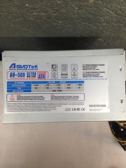 Fonte Nominal Asvotek Model: Av-500 Ultra 24pinos 230w Sata
