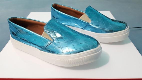 Tênis Feminino Azul Brilhante Usado