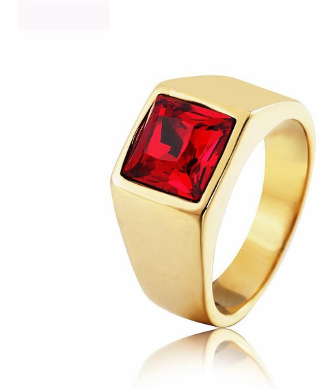 Anel Comendador Pedra Vermelha Banhado A Ouro 18k Masculino