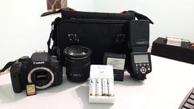 Kit Fotografia. Câmera, Lente, Flash Baterias Pilha E Carreg