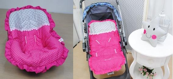 Kit Capa De Carrinho + Capa Bebê Conforto Pink + Brinde
