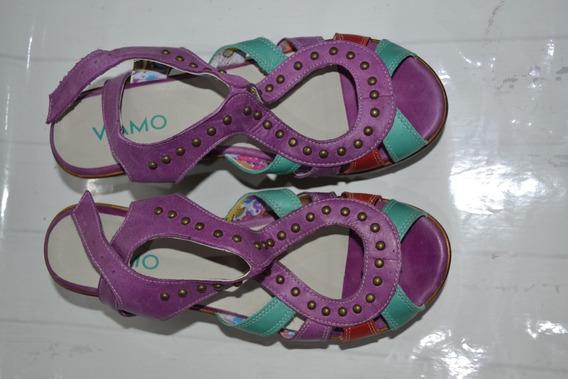 Sandalias Violeta Y Verde Con Plataforma - Viamo - Talle 39