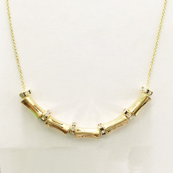 Collar Chapa De Oro Tubos Con Rosetas 42cm