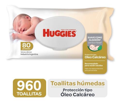 Toallas Humedas Huggies C/ Oleo Calcareo Deluxe X80 Caja X12