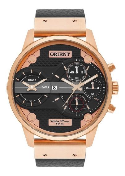 Relógio Orient Masculino Dual Time Rosê Mrsct001 P1px