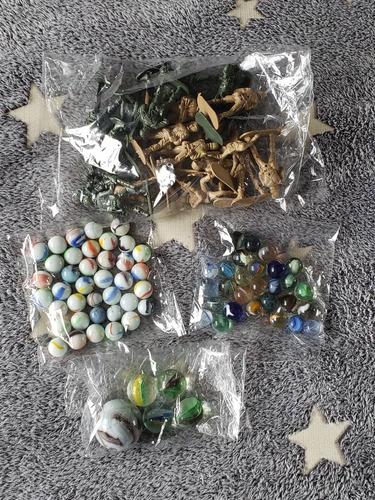 Imagen 1 de 3 de Set Soldaditos Plastico + Canicas + Bolones