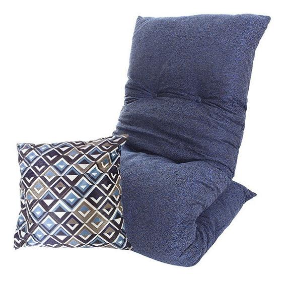 Futon Colchonete Dobrável Azul Solteiro Almofada Decorativa