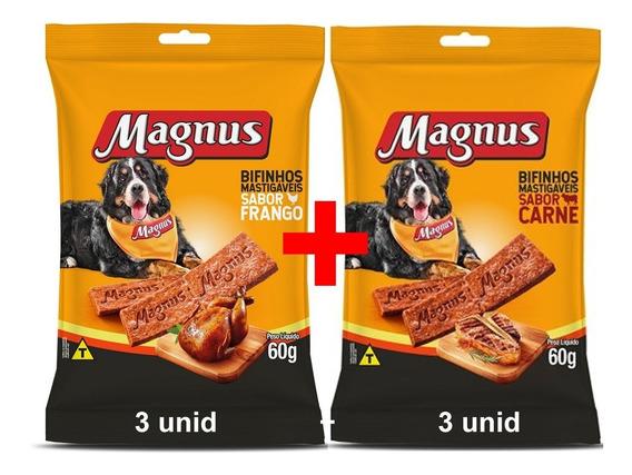 Combo 3 Magnus Bifinho Carne 60g + 3 Frango 60g - Mlfull