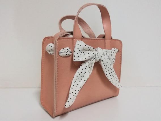 Bolsa Infantil Zara - Rosa Com Laço - Novo