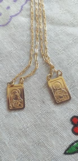 Corrente Escapulario Jesus E Virgem Maria Banhada