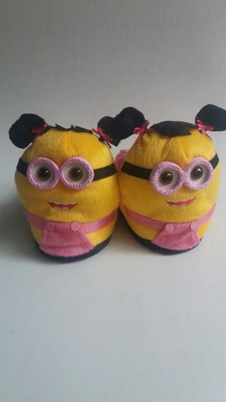 Pantufas Minions Rosa - Infantil Adulto Personagens