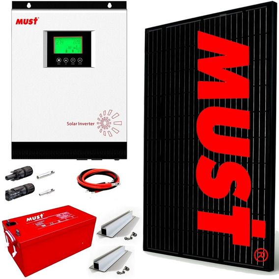 Kit Solar Must Completo 3600 Watts Diarios- Inverter 3kw/6kw Regulador Mppt 80a Wi Fi App Control En Tiempo Real M8