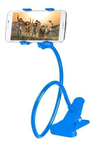 Imagen 1 de 8 de Soporte Holder Flexible De 60cm / Clip Para Celulares, Azul