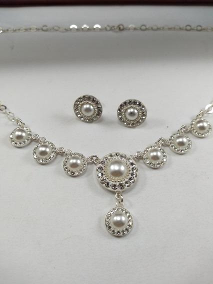 Collar Y Aretes En Plata Conjunto, Toques De Perla Blanca