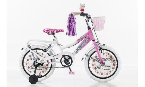 Bicicleta Rodado 16 Nena Niña Halley 19060 Rueditas Canasto