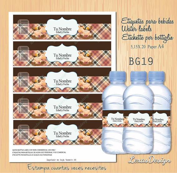 Etiquetas Botellas Bebidas Caballito Candy Bar, Pdf Bg19