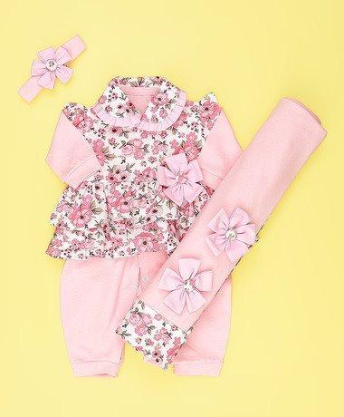 Kit Saída De Maternidade Vestido Rosa Floral - Bebê - Menina