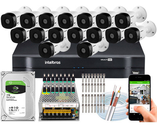 Imagem 1 de 5 de Kit 16 Câmeras Intelbras Multi Hd 20m Vhl 1120b Mhdx 1116