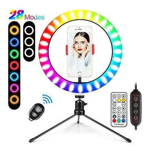 Imagen 1 de 5 de Anillo Luz Selfie Tripode 10  Video 25color Regular Maquilla