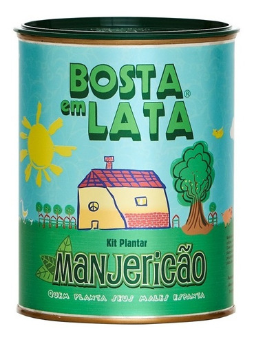 Imagem 1 de 3 de Kit Plantar Bosta Em Lata Manjericão - 330 G