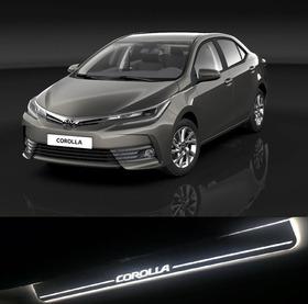 Promoção Kit Soleira Acrílico Em Led Corolla Toyota Novo
