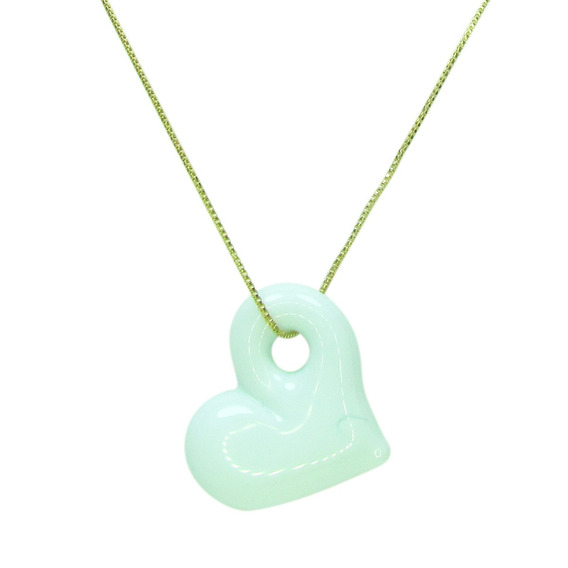 Gargantilha Pingente De Cristal Artesanal Coração Branco