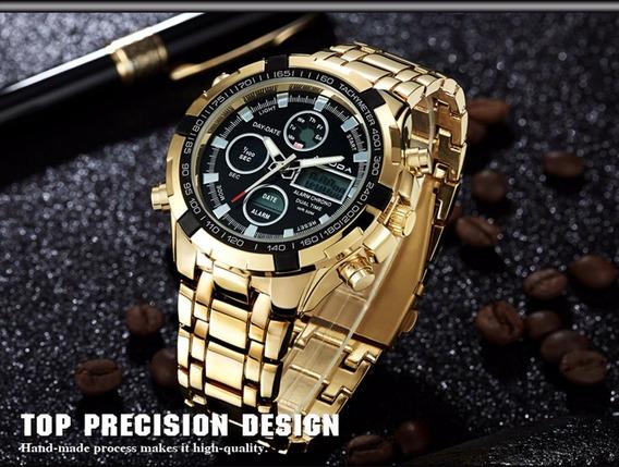 Amuda Relógio De Pulso Masculino Dourado Com Preto Militar!