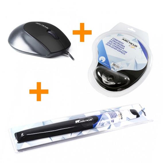 Kit Mouse Óptico 800dpi Usb + Mouse Pad+ Apoio De Punho