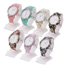7 Relógios Feminino Silicone Flor Da Moda Atacado + Caixas
