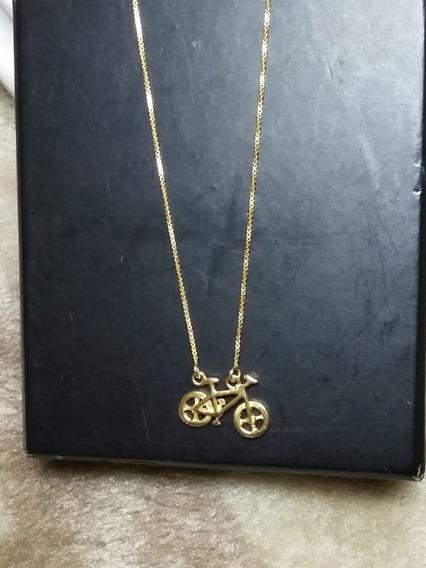 Colar Bicicleta De Prata Banhado A Ouro