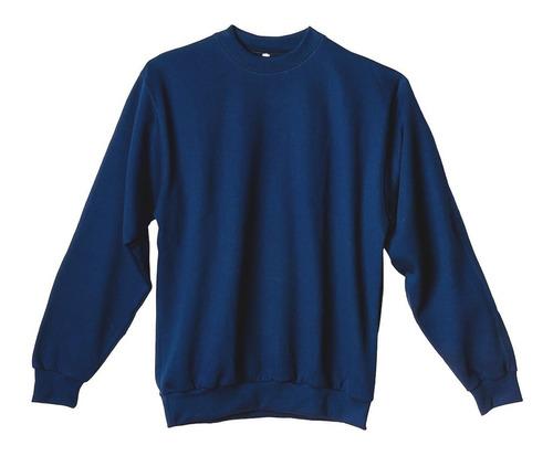 Imagen 1 de 4 de Buzo Friza 1º Calidad Liso Cuello Redondo Azul S-al-xl