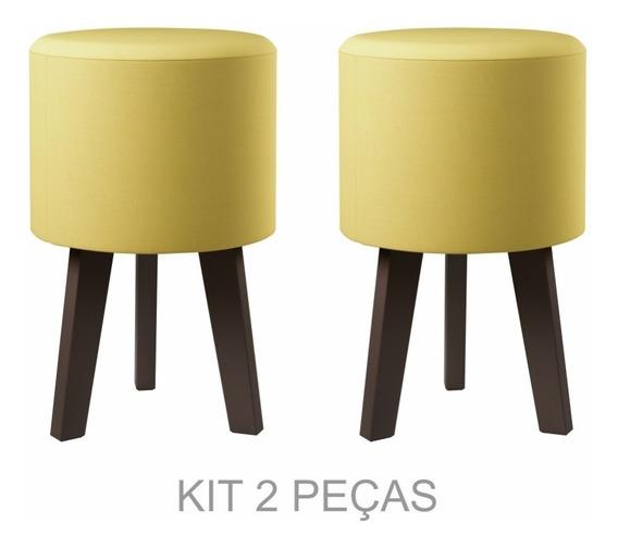 Kit Com 2 Puff/banqueta - Suede Amarelo - Decoração