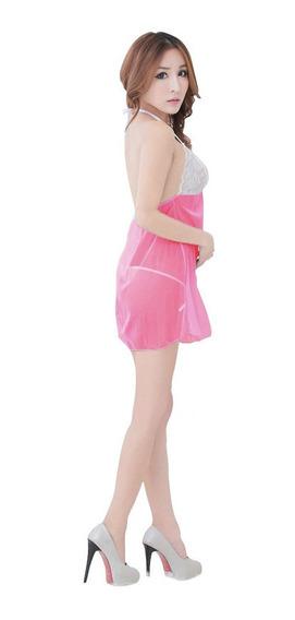 Baby Doll Semitransparente Encaje Bicolor Con Tanga Colores