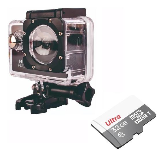 Filmadora Câmera Esporte 720p Moto Hd + Cartão Sd 32gb