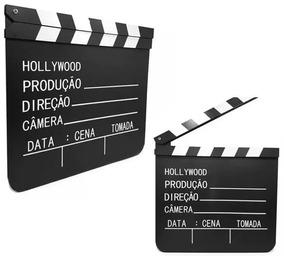 Kit Dois Claquete Profissional Novela Filmes 30x27cm Madeira