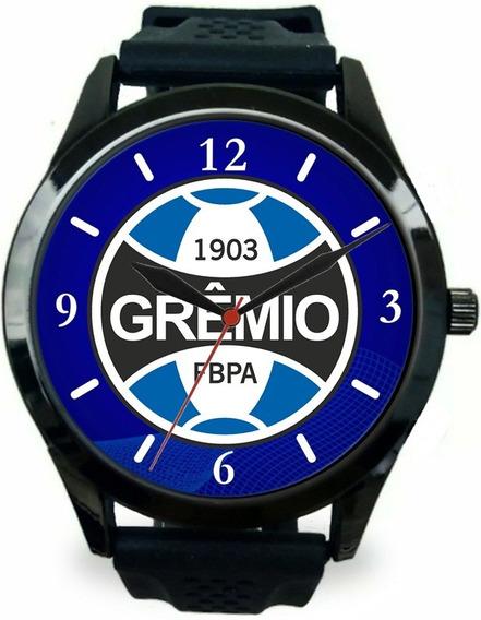 Relógio Pulso Masculino Esportivo Grêmio Personalizado Azul