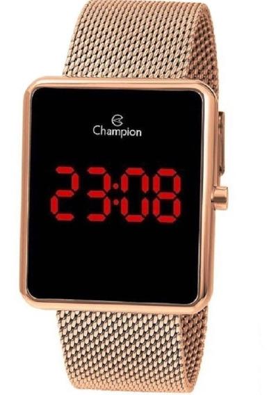 Relógio Digital Led Lcd Feminino Champion Ch40080p Ouro Rosê