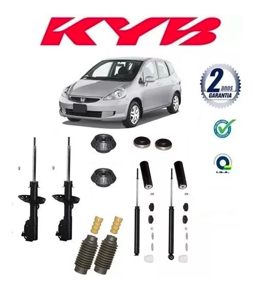 Kit 4 Amortecedores Kayaba + Kits Suspensao Fit 2003-2008