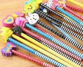 Kit 12 Lápis Com Borrachas Divertido