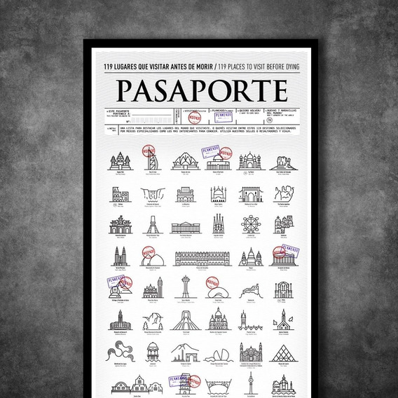 Póster Pasaporte Sella Donde Estuviste O Vas A Estar Regalo Original Viajes