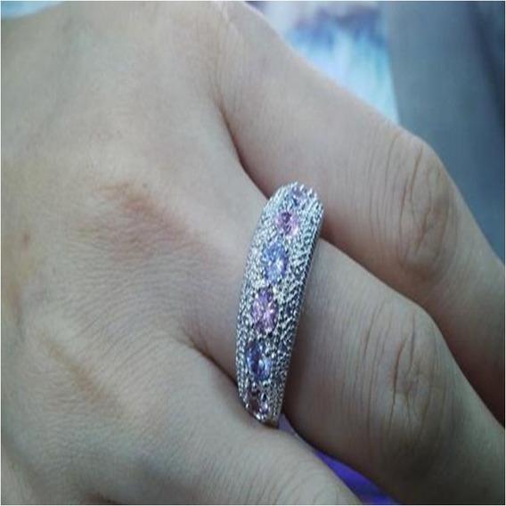 Anel Safira Rosa Cristal Ametista Prata Folheada 925