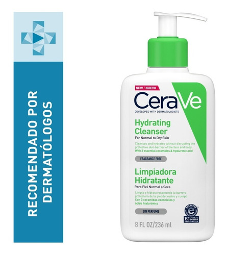 Imagen 1 de 12 de Limpiadora Hidratante Facial Cerave Piel Mixta A Seca 237ml