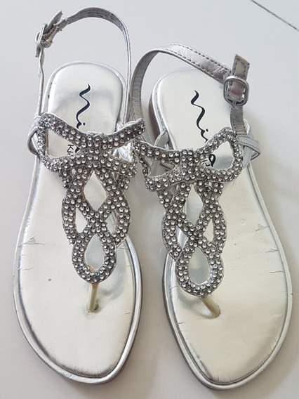 Sandalias Nena Plateadas Con Strass Swarovsky De Usa 24cm