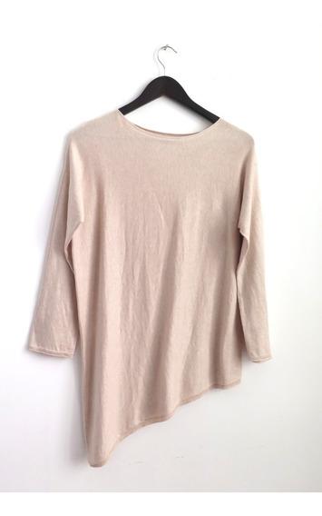 Sweater Algodon Hilo Beige Delcerro Corte Irregular Abajo