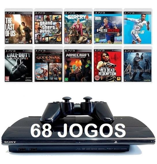 Playstation 3 Ps3 Super Slim + 68 Jogos + 12x Sem Juros